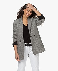 ANINE BING Fishbone Lyocell Mix Blazer - Zwart/Off-white