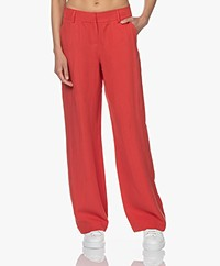 Kyra & Ko Ilona Lyocell and Linen Blend Pants - Burnt Red