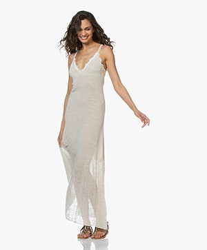 Fine Edge Duo-knit Maxi Jurk - Cream
