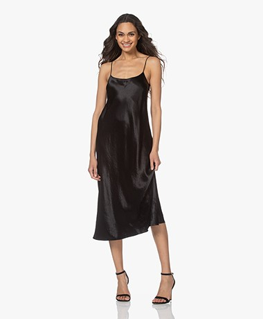 Vince Crush Satijnen Slip Dress - Zwart