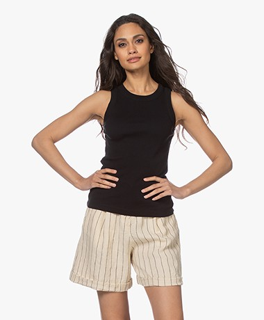 Drykorn Olina Cotton Rib Jersey Tank Top - Black