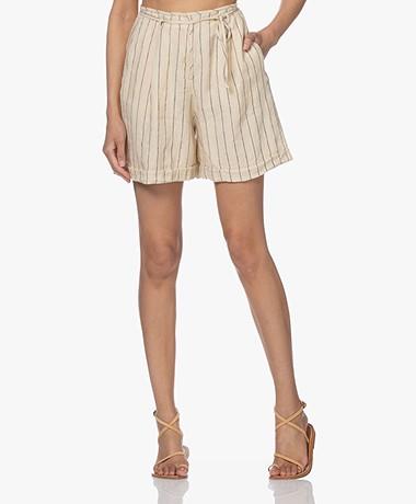 Pomandère Striped Linen Shorts - Beige