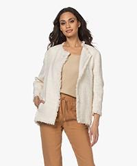 Pomandère Slubbed Cotton Blend Blazer Jacket - Butter