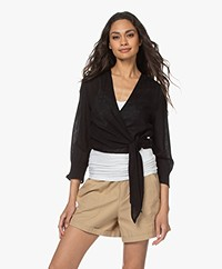 Rails Raquel Linen Blend Wrap Blouse - Black