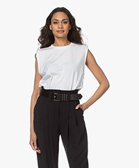 IRO Cosy Padded Shoulder Top - White