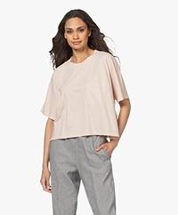 Pomandère Cropped Cotton T-Shirt - Powder Rose
