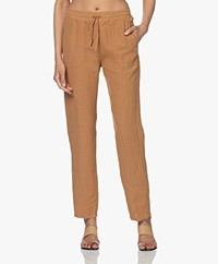 no man's land Straight Linen Pants - Toffee