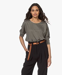 Repeat Lyocell and Cotton T-shirt with Cropped Sleeves - Khaki