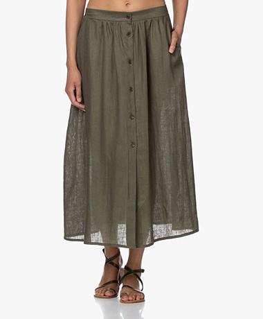 Resort Finest Sophia Linen Button-through Skirt - Vineyard Green