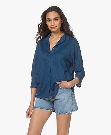 Majestic Filatures Jersey Linen Blend Shirt - Indigo
