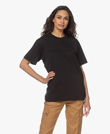 ANINE BING Lili Logo Embroidery T-shirt - Tonal Black