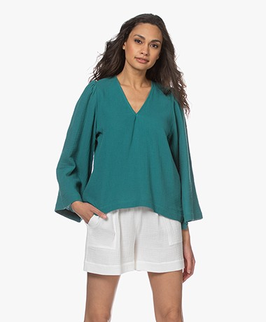 Shades Antwerp Louise Muslin V-neck Blouse - Turquoise