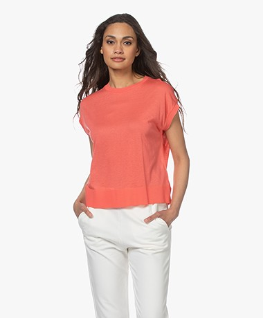 Drykorn Lakisha Lyocell Mix T-shirt - Rosewood