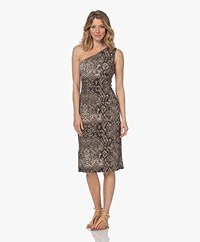 Majestic Filatures Jersey Asymmetric Print Dress - Khaki