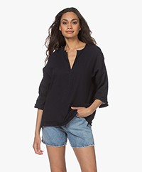 Shades Antwerp Rose Cotton Muslin Blouse - Navy