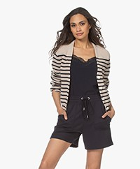 Rag & Bone Ann Striped Cashmere Blend Cardigan - Wheatcombo