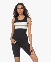 Deblon Sports Fe Tri-color Sports Top - Black/Camel/Off-white