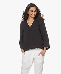 Shades Antwerp Louise Muslin V-neck Blouse - Black