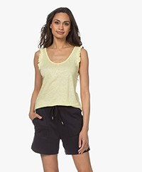indi & cold Linen Top with Ruffles - Amarillo