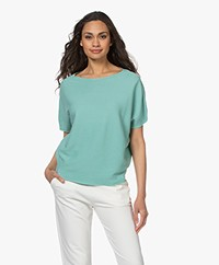 no man's land Cotton Short Sleeve Sweater - Sea Breeze