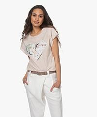ba&sh Vadim Slub jersey Print T-shirt - Mauve