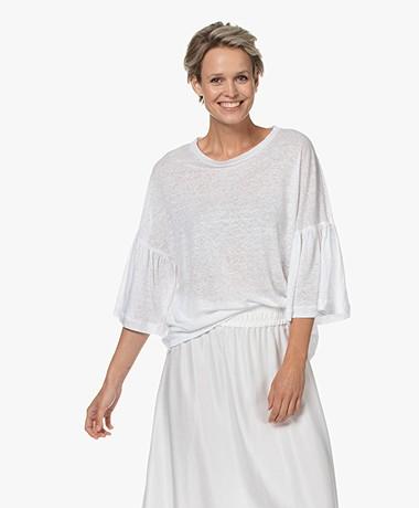 Drykorn Fimoni Linnen T-shirt met Volantmouwen - Wit