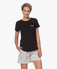 by-bar Moly Cotton T-shirt with Embroidered Detail - Jet Black
