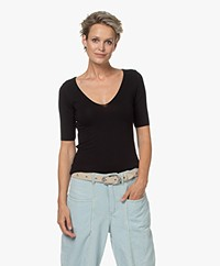 Majestic Filatures Soft Touch Scoop V-neck T-shirt - Black