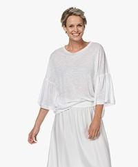 Drykorn Fimoni Linen T-shirt with Lantern Sleeves - White