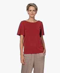 Plein Publique La Vie Modalmix T-shirt met Vlindermouwen - Rood