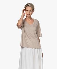 Drykorn Svennie Linen V-neck T-shirt - Beige