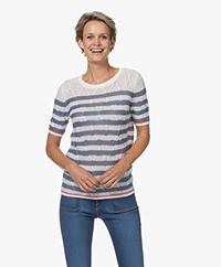 Plein Publique La Linne Short Sleeved Sweater - White/Jeans
