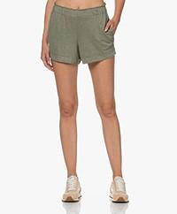 Majestic Filatures Jersey Linen Blend Shorts - Khaki