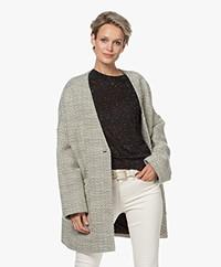 IRO Posner Wool Blend Coat with Herringbone Pattern - Ecru/Black