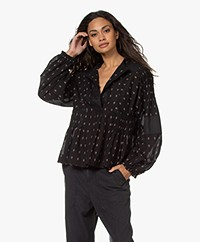 Closed Harlow Embroidered Blouse with Pleats - Black