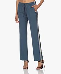 Zadig & Voltaire Pomy Crepe Side Stripe Pants - Bleu De Gris