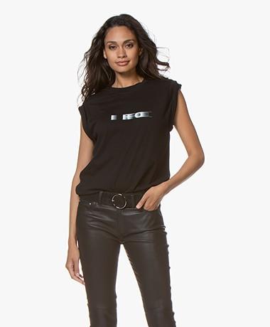 IRO Wax Katoenen Print T-shirt - Zwart