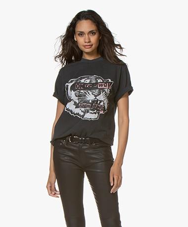 ANINE BING Tiger Eyes Print T-shirt - Zwart