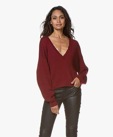 IRO Theta Merino V-neck Sweater - Wine