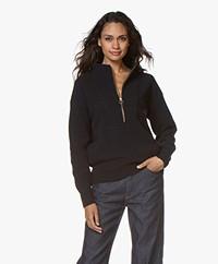 Closed Wool Sweater with Zipper - Dark Night