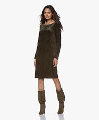 no man's land Velvet Croco Dress - Extra Dark Moss