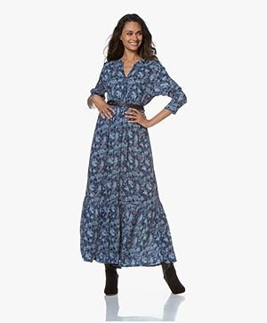 indi & cold Maxi A-line Print Dress - Azul