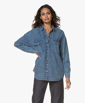 American Vintage Lazybird Denim Overhemd - Blue Dusty