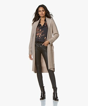 Repeat Long Open Wool Blend Cardigan - Sand