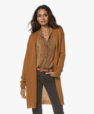 indi & cold Mid-length Open Cardigan - Oxido