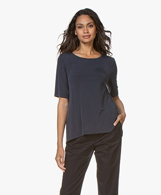 Drykorn Estell Cupro Jersey T-Shirt - Donkerblauw