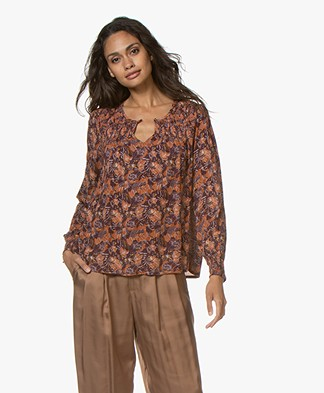 indi & cold A-line Print Blouse - Aubergine