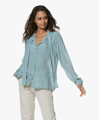 by-bar Kaatje Neck-tie Blouse - Steel Blue