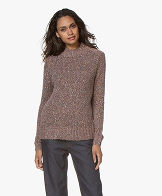indi & cold Wool Blend Sweater with Buttoning - Lilac