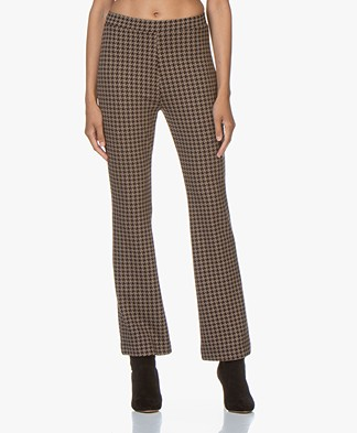 no man's land Jersey Houndstooth Pants - Sandelwood